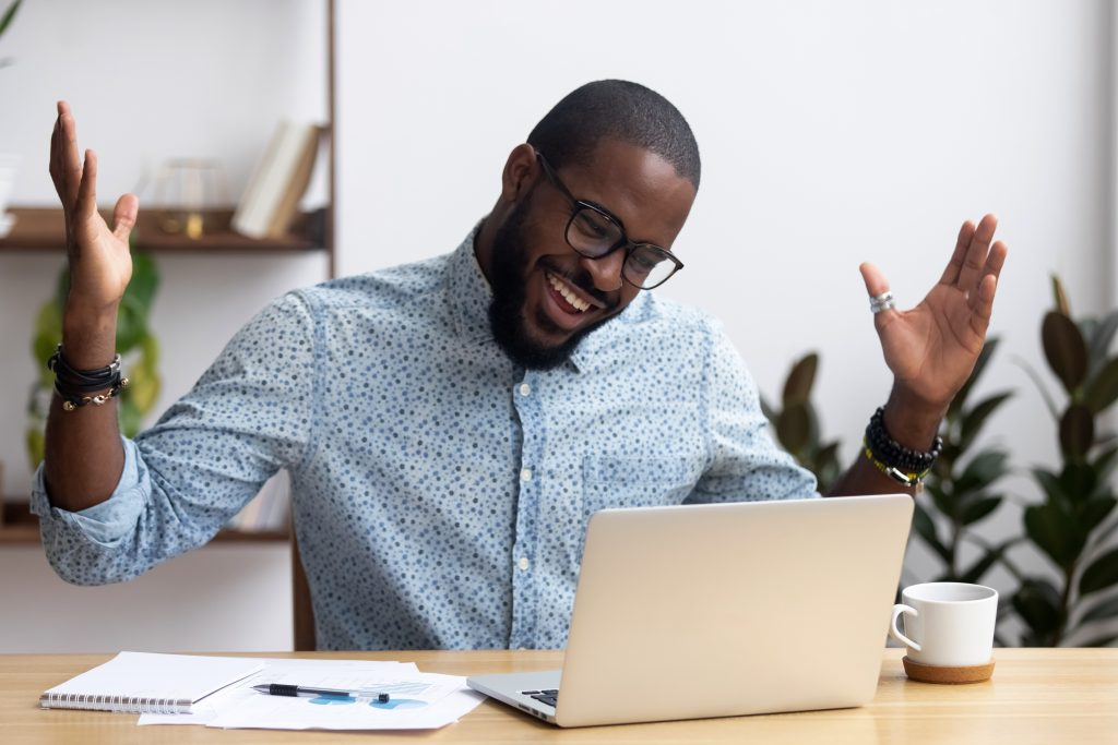 happy businessman enjoying the benefits of a portfolio life career
