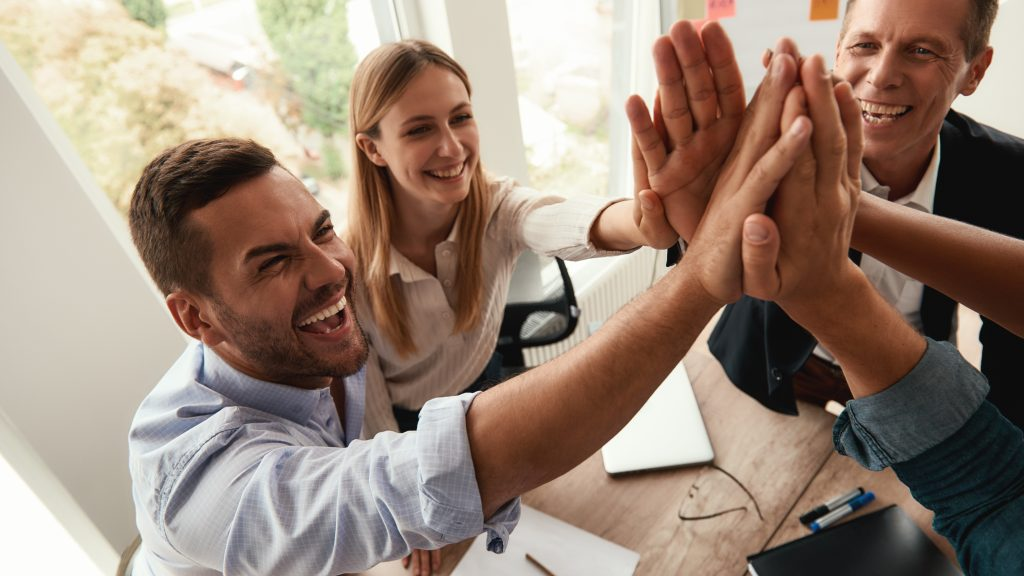 group of successful freelancers working together
